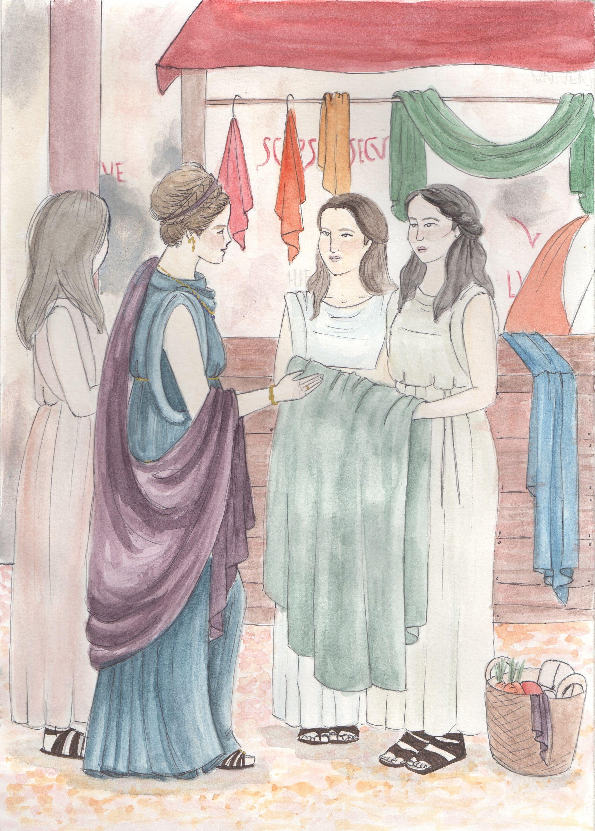 Representació d'una matrona romana en una escena de mercat