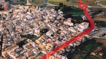L'N-340, marcada en vermell, al seu pas urbà per l'Arboç. /Foto: Ajuntament de l'Arboç