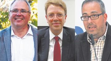 Els caps de llista locals de les diferents formacions aprofiten les darreres hores de la campanya per aconseguir el vot de l'indecís. A l'esquerra, Fèlix Alonso (En Comú Podem). Al mig, Ferran Bel, cap de llista de Democràcia i Llibertat per les comarques de Tarragona. A la dreta, Martí Barberà, cap de llista al Congrés d'Unió.