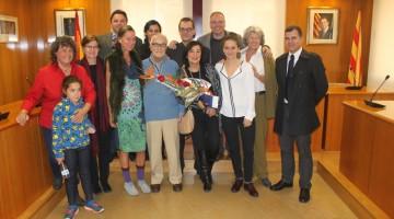 L'homenatjat, acompanyat de la seva família i de l'alcalde i autoritats del Consistori altafullenc.