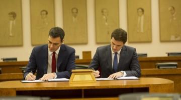 Moment de la signatura d'aquest dimecres al Congrès de Diputats/ @sanchezcastejon